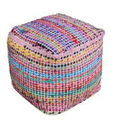 Pouf Madrid multicolore coton recyclé effet tissé - The Rug Republic