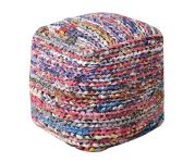 Pouf Mila tissé main coton multicolore 40x40x40 - The Rug Republic