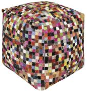 Pouf Mosaic cuir multicolore 40x40xH40 - The Rug Republic