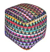 Pouf Prizma charbon/multicolore motifs triangles coton recyclé - The Rug Republic