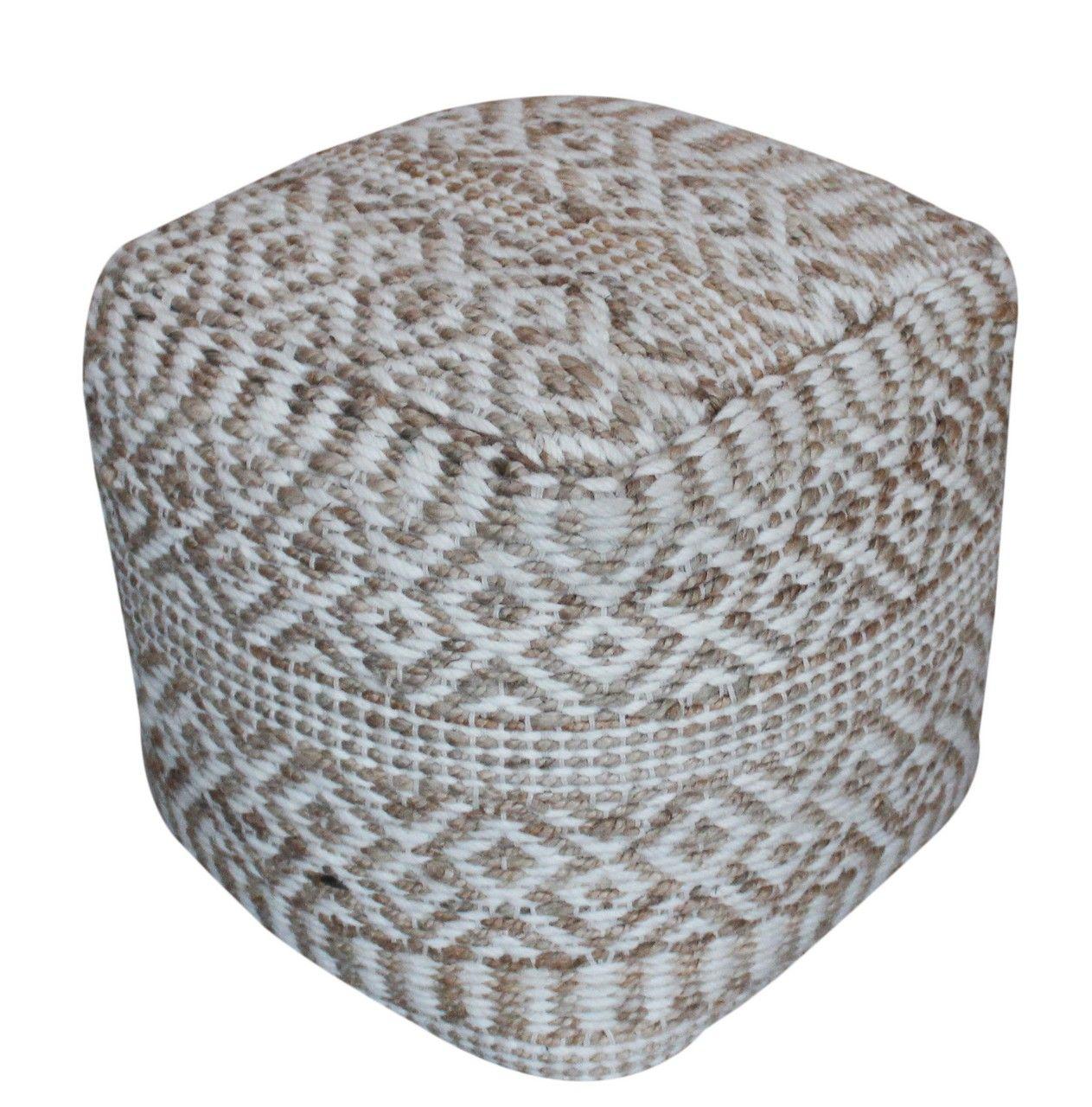 Pouf Jonc De Mer pouf sarah chanvre/laine/coton 40x40x40