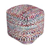 Pouf Sarah fibres naturelles recyclées multicolore 40x40x40 - The Rug Republic