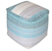 Pouf York aqua/gris rayures dégradées coton - The Rug Republic