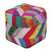 Pouf carré Jodhpuri multicolore coton recyclé 40x40x40 - The Rug Republic