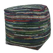 Pouf cuir Kasas multicolore 40x40x40 - The Rug Republic