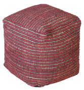 Pouf lignes bicolores Texel rouge coton et chanvre - The Rug Republic