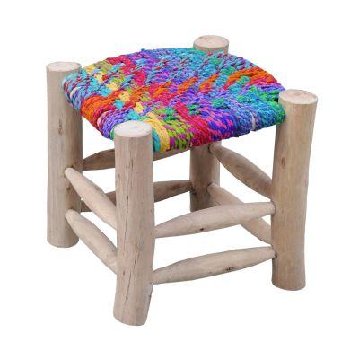 Multicolore Pied Chindi Tissé Tabouret Assise Sahara Bois Coton shtdBQCxro