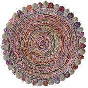 Tapis Accra en coton/chanvre coloris multicolore rond Ø120 - The Rug Republic