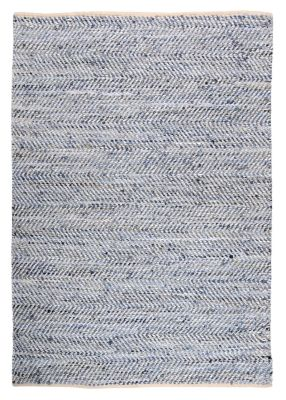 tapis atlas blanc et bleu motifs chevrons cuir et coton 85x55 d coration. Black Bedroom Furniture Sets. Home Design Ideas
