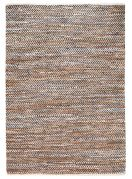 Tapis Atlas naturel motifs chevrons cuir et coton 230x160 - The Rug Republic