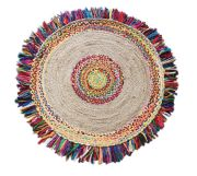 Tapis Ballas en coton/chanvre coloris multicolore rond Ø120 - The Rug Republic