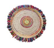 Tapis Ballas en coton/chanvre coloris multicolore rond Ø90 - The Rug Republic