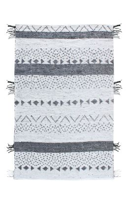 tapis callista tiss main fibres naturelles blanc noir. Black Bedroom Furniture Sets. Home Design Ideas