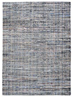 Tapis Harris Gris Bleu Coton Recycle Effet Tisse 85x55 Decoration