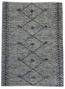 Tapis Léonie tissé main cuir/coton coloris gris 190x290 - The Rug Republic