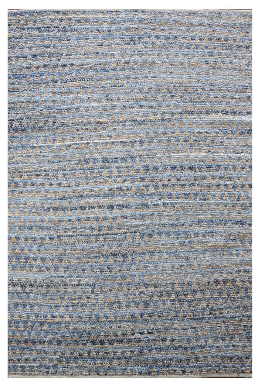 tapis prism bleu denim motifs triangles jute et coton 180x120. Black Bedroom Furniture Sets. Home Design Ideas