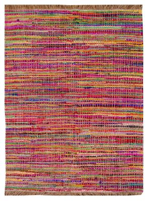 Tapis Roxy multicolore coton recyclé avec franges 230x160 - The Rug Republic