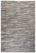 Tapis Spica chanvre et cuir tissés multicolore 180x120 - The Rug Republic