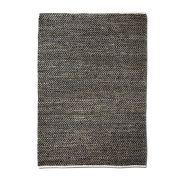 Tapis Stables tissé main cuir/chanvre/coton coloris charbon 180x120 - The Rug Republic
