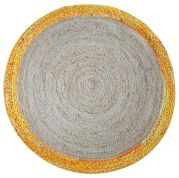 Tapis chanvre rond bicolore Coino jaune Ø90 - The Rug Republic