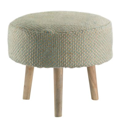 tabouret enfant jute et bois bicolore bleu pastel et naturel pompons disha mobilier. Black Bedroom Furniture Sets. Home Design Ideas