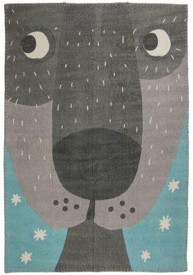 tapis annibal vintage chien bleu et gris coton. Black Bedroom Furniture Sets. Home Design Ideas