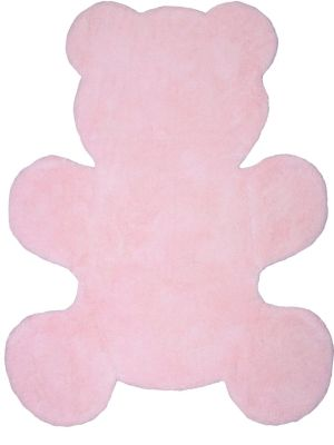 Tapis Little Teddy forme ourson rose pastel coton - Nattiot
