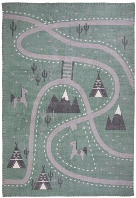 Tapis Little Western motifs route chevaux village indien coton - Nattiot