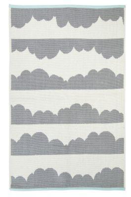 tapis coton nuages gris extr mit s bandes bleu pastel daphn nattiot. Black Bedroom Furniture Sets. Home Design Ideas