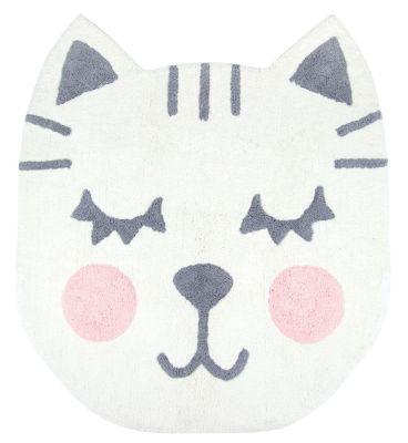 tapis coton t te de chat blanc gris et rose betsy nattiot. Black Bedroom Furniture Sets. Home Design Ideas