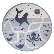 Tapis enfant Little deep blue Coton stonewashed Bleu rond Ø120 - Nattiot