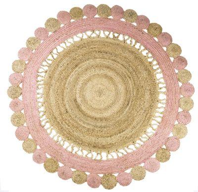 tapis jute tress forme soleil bicolore rose pale et naturel anusha - Tapis Jute