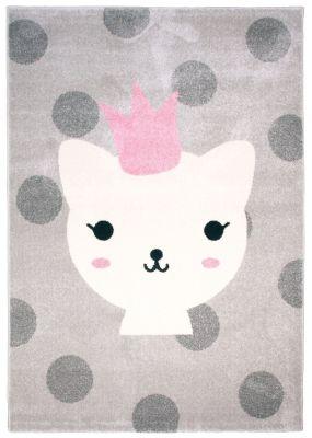 tapis polypropyl ne motif chat blanc princesse fond gris pois lola d coration. Black Bedroom Furniture Sets. Home Design Ideas