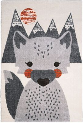 Tapis polypropylène motif renard fond montagne gris et orange Mr. Fox - Nattiot