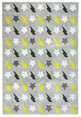 tapis polypropyl ne motifs toiles et clairs gris noir et jaune bolt d coration. Black Bedroom Furniture Sets. Home Design Ideas
