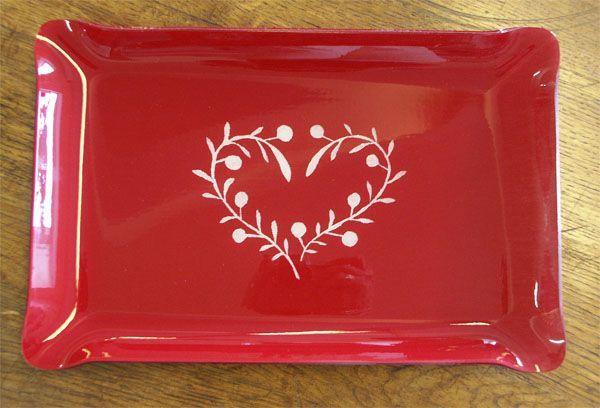 Plateau d cor coeur rouge - Decoration coeur rouge ...