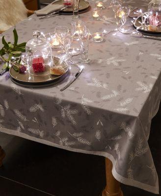 Chemin de table coton jacquard anti t ches or e du bois 47x150 - Chemin de table anti tache ...