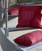 Coussin Make A Wish rouge chiné coton chambray 30x60 - Sylvie Thiriez
