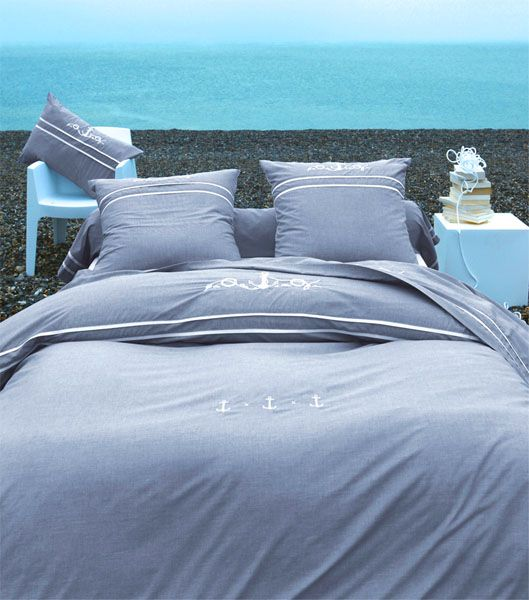 drap de lit vue sur mer 180x290 linge de maison. Black Bedroom Furniture Sets. Home Design Ideas