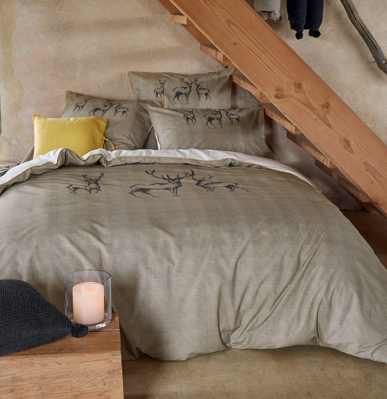 drap housse les 7 vall es impression trame ficelle percale 90x200. Black Bedroom Furniture Sets. Home Design Ideas