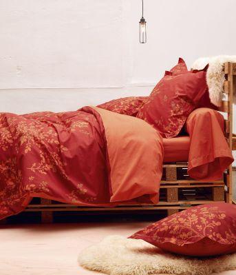 drap housse percale merveilles uni orange 160x200 sylvie thiriez. Black Bedroom Furniture Sets. Home Design Ideas