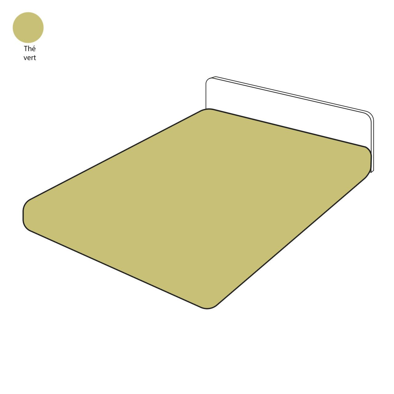 Drap housse percale th vert 140x200 sylvie thiriez for Drap housse 140x200