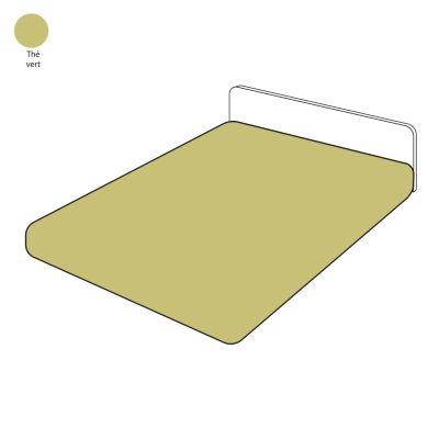 drap housse th vert percale 140x200 linge de maison. Black Bedroom Furniture Sets. Home Design Ideas