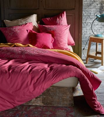 housse de couette brod e percale rose emilia 160x210 sylvie thiriez. Black Bedroom Furniture Sets. Home Design Ideas