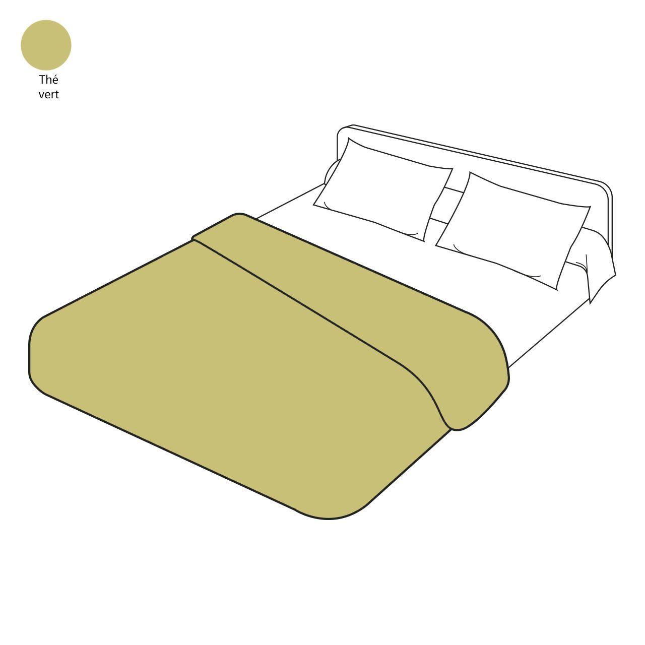 housse de couette percale th vert 140x200 sylvie thiriez. Black Bedroom Furniture Sets. Home Design Ideas