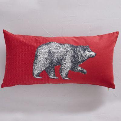 Housse de coussin Esprit Libre coton motif ours fond rouge 30x60