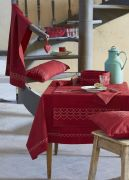 Nappe coton chambray rouge chiné 100x100 - Sylvie Thiriez
