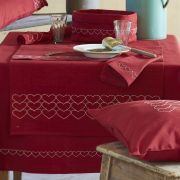 Serviette de table Make A Wish rouge chiné coton chambray 42x42 - Sylvie Thiriez