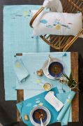 Serviette de table Palerme uni blanc broderies poissons blanche 42x42 - Sylvie Thiriez