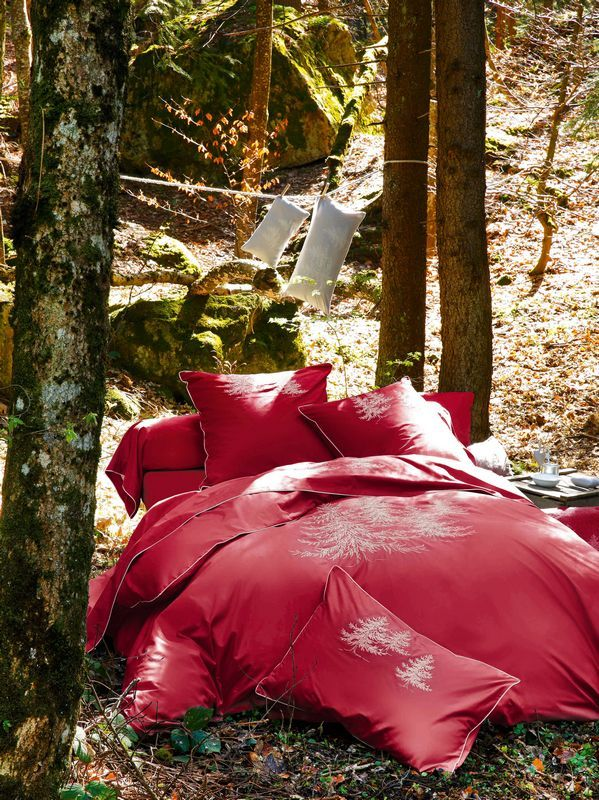 Taie d'oreiller In the forest Rouge percale 50x80 - Sylvie Thiriez